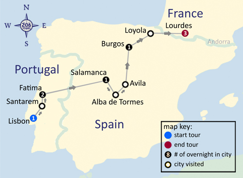 Map Of Spain Portugal And France.Catholic Pilgrimage To Fatima Spain Lourdes With Fr Anthony Ho
