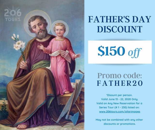 Father's Day is this weekend! Still looking for a gift?  Take advantage of our Father's Day discount eligible to be applied to any new booking of a Series tour. Dates listed through 2022!  All tours: 206tours.com/pilgrimages *Valid June 13 - 20, 2020 on new reservations (tours 1 - 230) only. Not to be combined with other discounts or promotions.