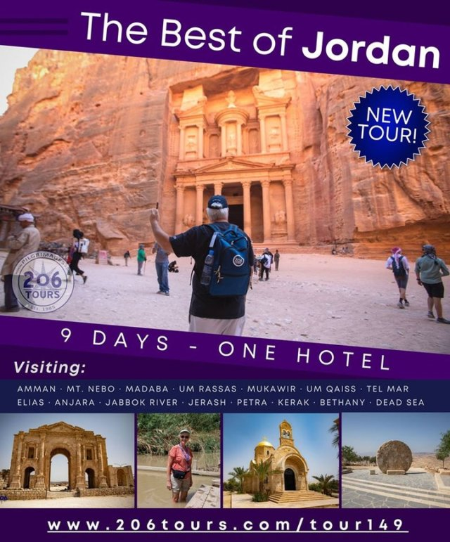 206 Tours is offering another amazing new pilgrimage in Jordan, beginning in 2021. Conveniently remain in same hotel throughout!  Take a peek and share: www.206tours.com/tour149 #Jordan #HolyLand #catholicpilgrimages