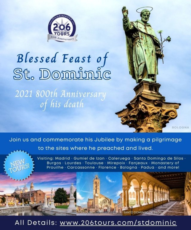 Today is the Feast of Saint Dominic! We're excited to share several new itineraries that will celebrate his 800th Anniversary by visiting various sites from his life. Learn more here: https://www.206tours.com/stdominic  St. Dominic, Pray for Us!