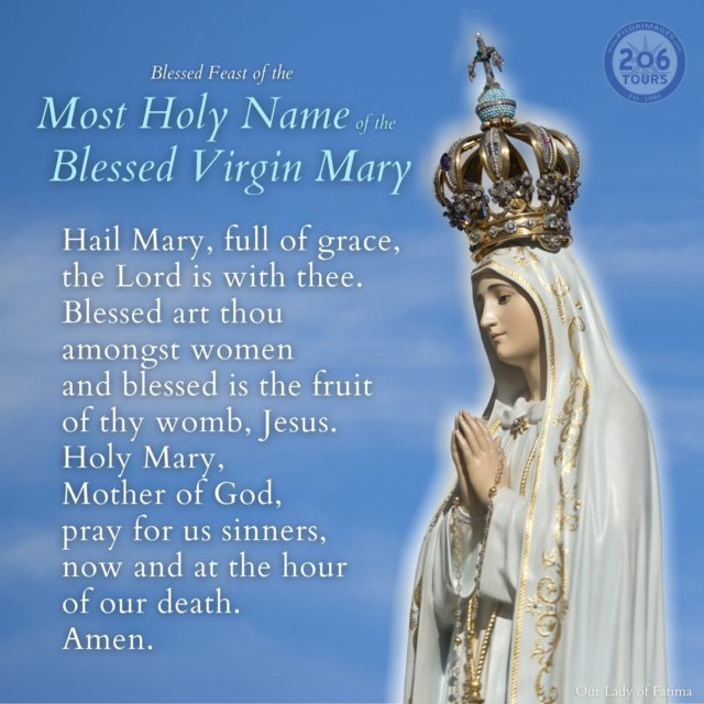 Blessed Feast of the Most Holy Name of Mary!  Please join us in prayer.