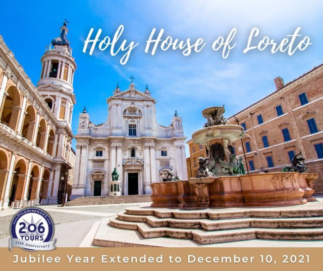 "The Jubilee Year for the Holy House of Loreto has been extended to December 10, 2021 in light of the pandemic in hopes to accommodate more Pilgrims who plan to visit and receive a plenary indulgence.   Fr. Donald Calloway, MIC will be visiting for the Jubilee in February 2021 - all details: pilgrimages.com/frcalloway/italy  The Holy House of Loreto (in Italian, ""Santa Casa di Loreto"") is the house where Mary was born and the site of the Annunciation. The Holy House is in Loreto, in the Italian Province of Ancona. According to pious tradition, Mary's house in Nazareth was flown by angels to Loreto, Italy in 1294, after a stop in Croatia, what was then Yugoslavia. This miracle is often referred to as ""the Miracle of the Holy House of Loreto"". This great Marian shrine is also known as the House of Nazareth, and it also holds the beautiful statue of the Madonna of Loreto. More than fifty (50) Popes have made pilgrimages to the house in the hills of central Italy. Tradition states that this is the house in which Mary first prayed the Magnificat, Jesus grew to manhood, and where the Holy Family lived. This house now lies within the grand Basilica of the Holy House (in Italian, ""Basilica della Santa Casa"") and has been one of the most famous Marian Shrines for Catholic Pilgrimages since the 13th century. The feast day of Our Lady and the Holy House of Loreto is on December 10th each year.  Learn more: 206tours.com/holy-house-of-loreto-pilgrimage"