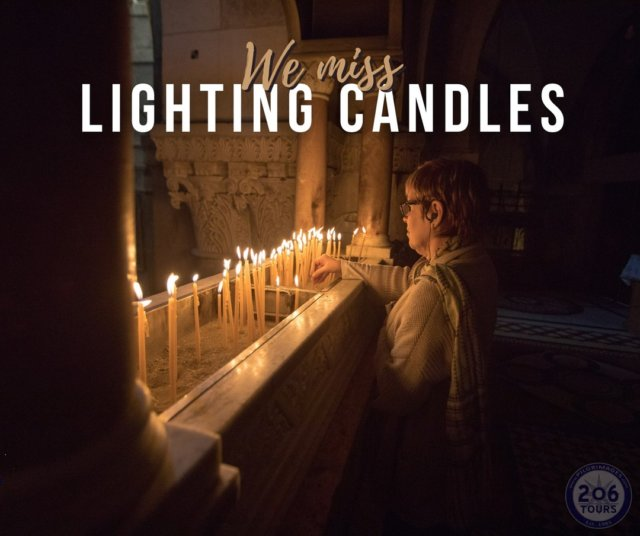 What do you miss about Pilgrimage?   One of the things we miss is lighting candles in Holy places like the Holy Sepulchre. We know we will be back soon #staypilgrims