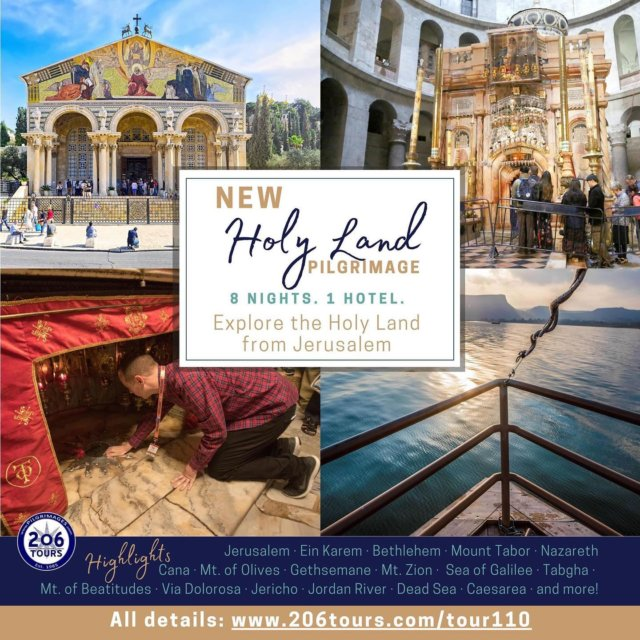 NEW Holy Land Itinerary!  Explore the Holy Land from Jerusalem - Spend 8 nights in 1 hotel, only having to unpack once!   All details: 206tours.com/tour110  Visiting: Jerusalem · Ein Karem · Bethlehem · Mount Tabor · Nazareth · Cana · Mt. of Olives · Gethsemane · Mt. Zion · Sea of Galilee · Tabgha · Mt. of Beatitudes · Via Dolorosa · Jericho · Jordan River · Dead Sea · Caesarea · and so much more!