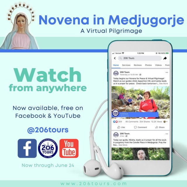 Join us in prayer! Now through June 24th watch our Novena in Medjugorje Virtual Pilgrimage on Facebook, YouTube, and our blog! Free videos release daily, link in bio!  #Medjugorje #Pilgrimage #Novena #VirtualPilgrimage #StayPilgrims