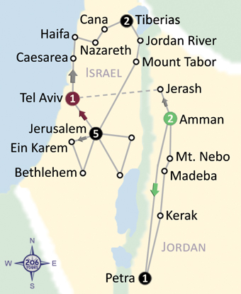 Map Of  Jordan & The Holy Land with Oberammergau Passion Play 2020