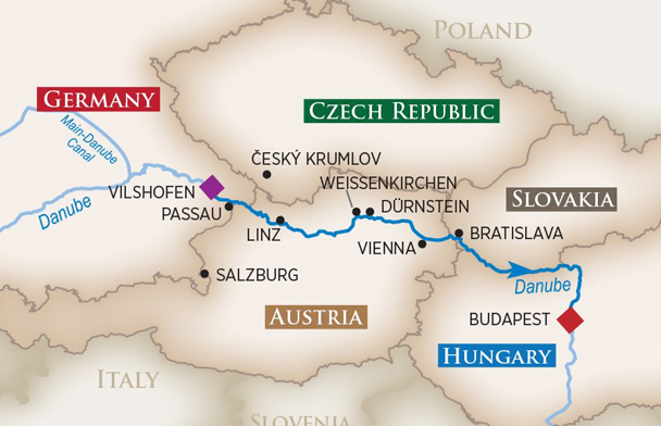 Map Of Germany And Hungary.Legendary Danube River Cruise To Austria Germany Hungary Slovakia