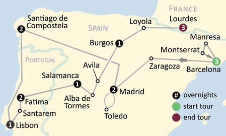 Loyola Spain Map.The Shrines Of Spain Fatima Lourdes 206 Tours Catholic Tours